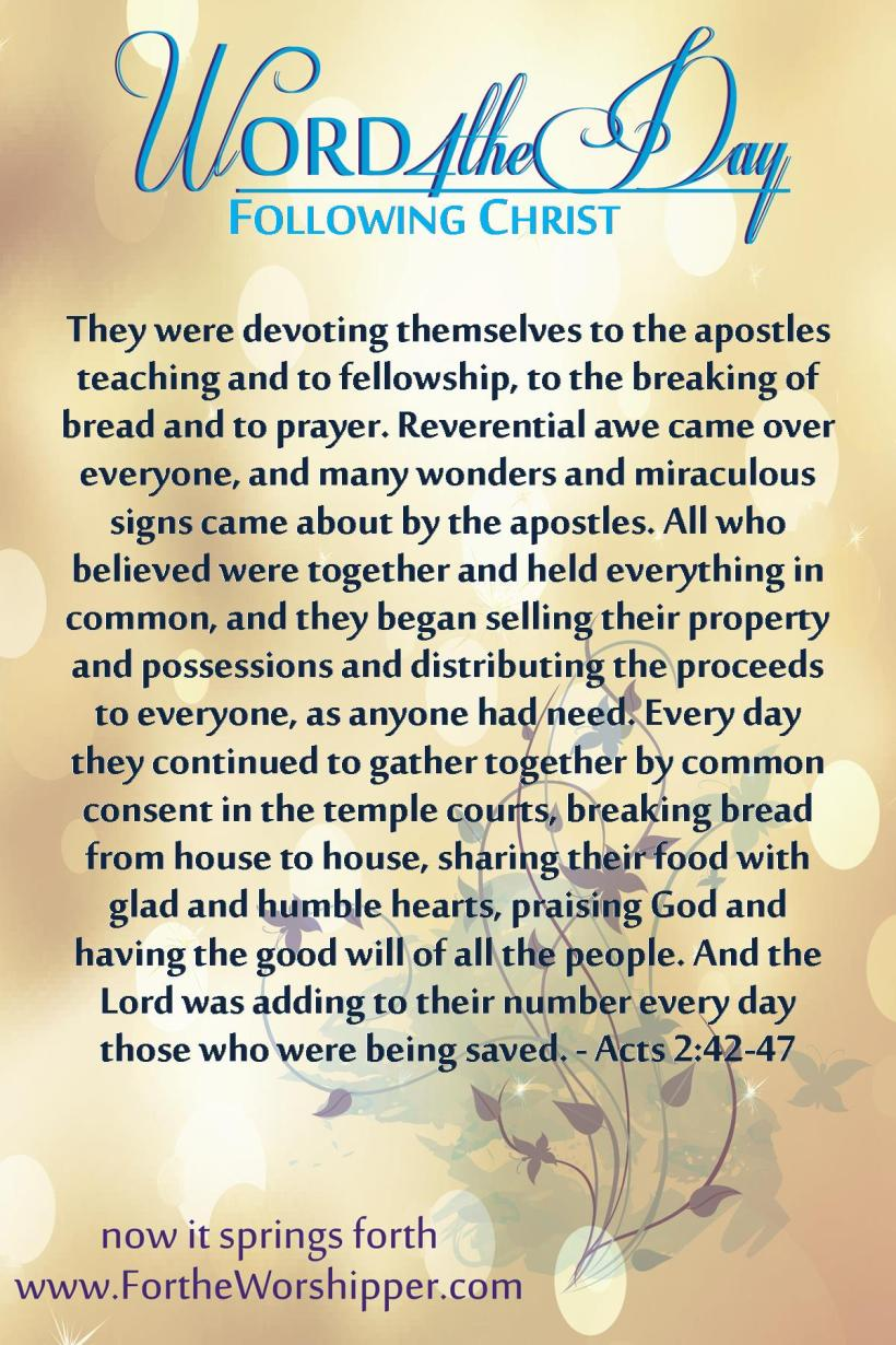 Acts 2 42-47 Devote yourself to teaching and fellowship