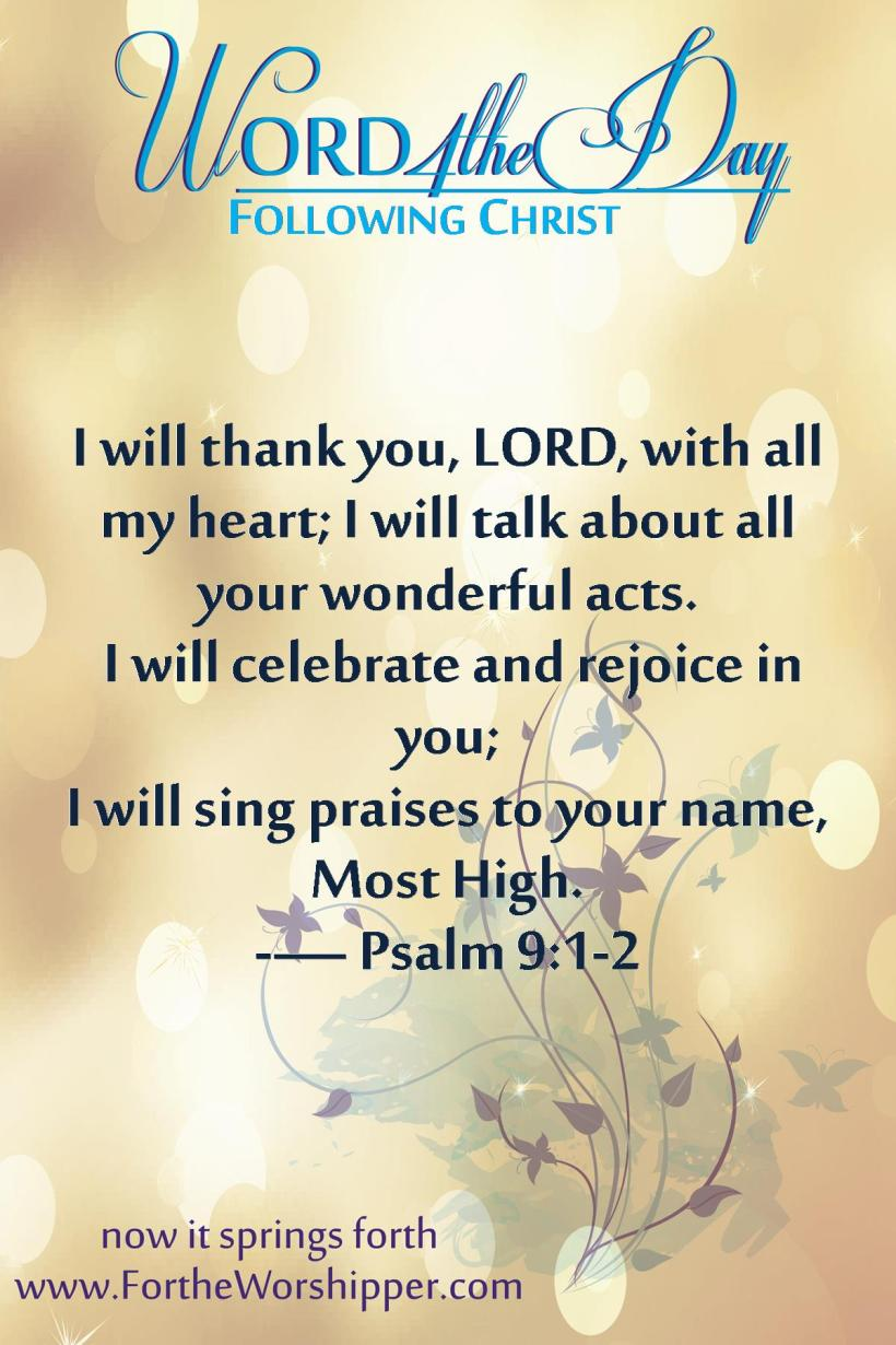 Psalm 9 1-2 Rejoice in the Lord